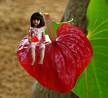 ANTHURIUM- HAWAIIN HEART FLOWER--LITTLE GIRL & WATERMELON A SUMMERS DELIGHT - PILLOW & TOTE BAG. by ✿✿ Bonita ✿✿ ђєℓℓσ