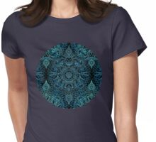 Black, Teal & Aqua Protea Doodle Pattern Womens Fitted T-Shirt