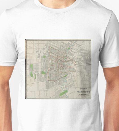 Vintage Map of Winnipeg Canada (1917) Unisex T-Shirt