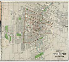 Vintage Map of Winnipeg Canada (1917) Photographic Print