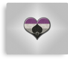 Asexual Pride Heart with Spade  Canvas Print