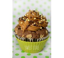 Sweet green love cupcake Photographic Print