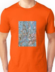 Marbling Abstract In Blue Unisex T-Shirt