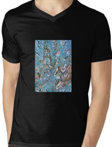 Marbling Abstract In Blue Mens V-Neck T-Shirt