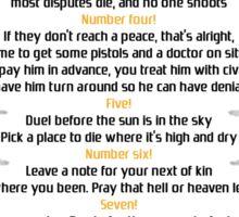 Ten duel commandments Sticker