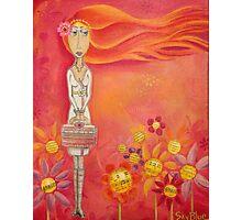 Brave Girl with Pink Handbag - Folk Art Girl with Red Orange Hair Photographic Print