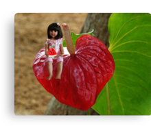 ANTHURIUM- HAWAIIN HEART FLOWER--LITTLE GIRL & WATERMELON A SUMMERS DELIGHT - PICTURE / CARD Canvas Print