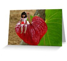 ANTHURIUM- HAWAIIN HEART FLOWER--LITTLE GIRL & WATERMELON A SUMMERS DELIGHT - PICTURE / CARD Greeting Card