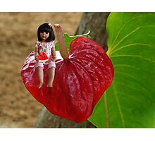 ANTHURIUM- HAWAIIN HEART FLOWER--LITTLE GIRL & WATERMELON A SUMMERS DELIGHT - PICTURE / CARD Photographic Print