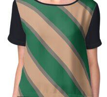 Athens Ohio Green & Cream Team Color Stripes Chiffon Top