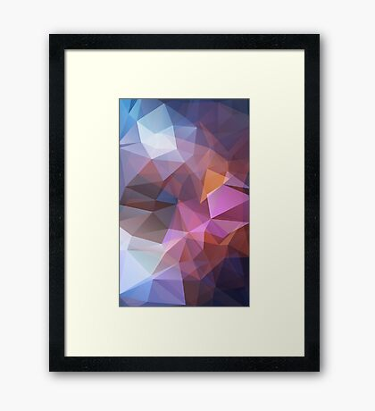 Abstract print geometrical pattern of triangles polygon. Fabric design in bright colors Framed Print