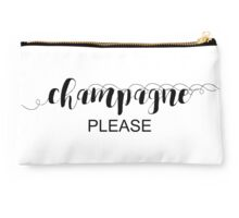 Champagne Please Typography In Black Studio Pouch