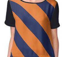 Malibu California Navy & Orange Team Color Stripes Chiffon Top
