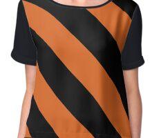 Princeton New Jersey Black & Orange Team Color Stripes Chiffon Top