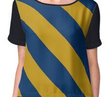 Kingston Rhode Island Navy & Gold Team Color Stripes Chiffon Top