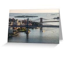 Aerial Manhattan and Brooklyn Bridges Greeting Card