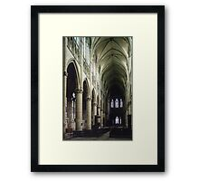 Pulpit and nave of Cathedral St Etienne Chalons sur Marne France 19840506 0043 Framed Print