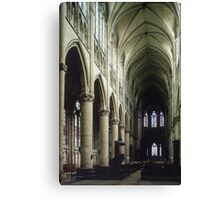 Pulpit and nave of Cathedral St Etienne Chalons sur Marne France 19840506 0043 Canvas Print
