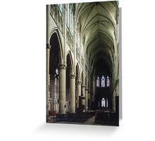 Pulpit and nave of Cathedral St Etienne Chalons sur Marne France 198405060043 Greeting Card