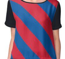 Dallas Texas Blue & Red Team Color Stripes Chiffon Top