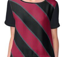 Stanford California Maroon, Black & Grey Team Color Stripes Chiffon Top