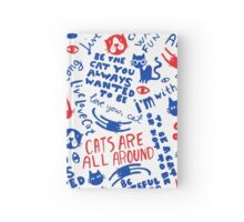 Cats Are All Around - Red And Blue Hardcover Journal