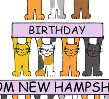 New Hampshire Birthdays with cats. Sticker