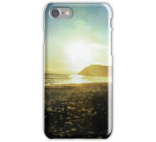 Sunset on a beach in New Zealand in Watercolor iPhone Case/Skin