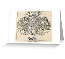 Vintage Map of The World (1598) Greeting Card