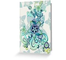 Minty Green, Purple and Navy Organic Doodle Greeting Card