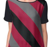 Philadelphia Pennsylvania Red, Black & Grey Team Color Stripes Chiffon Top