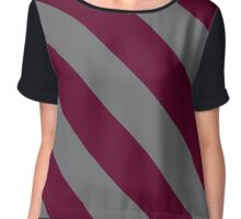 College Station Texas Maroon and Grey Team Color Stripes Chiffon Top