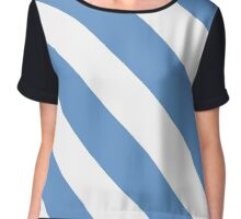 Chapel Hill North Carolina White & Light Blue Team Color Stripes Chiffon Top