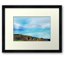 Lake Tekapo & Southern Alps in Watercolor Framed Print