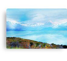 Lake Tekapo & Southern Alps in Watercolor Canvas Print
