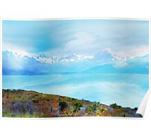 Lake Tekapo & Southern Alps in Watercolor Poster