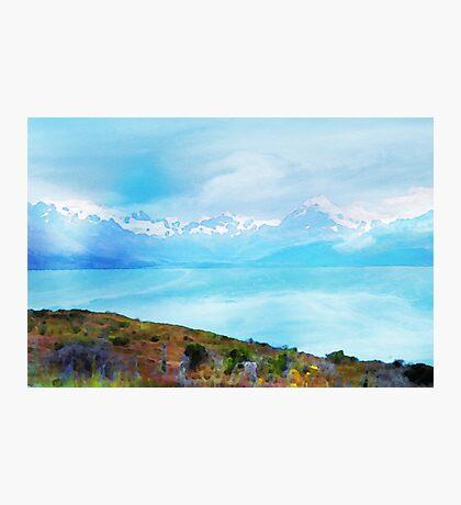 Lake Tekapo & Southern Alps in Watercolor Photographic Print