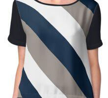 Logan Utah Navy, White & Grey Team Color Stripes Chiffon Top