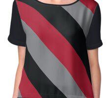Salt Lake City Utah Red, Black & Grey Team Color Stripes Chiffon Top