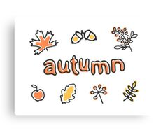 Autumn lettering with leaves, berries and acorns Canvas Print