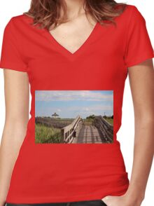 Beauty At The Boardwalk Women's Fitted V-Neck T-Shirt