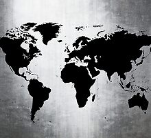 World Map Metal by Roz Abellera Art