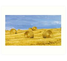 Beautiful yellow hill with haystacks at sunset, agricultural concept, France Art Print