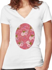 Floral Blossoms Women's Fitted V-Neck T-Shirt