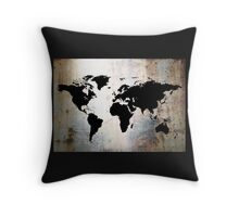 World Map Rusted Metal  Throw Pillow