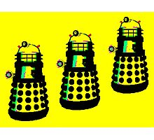 YELLOW AND BLACK DALEK ATTACK Photographic Print
