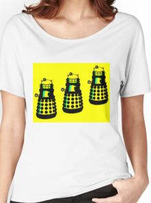 YELLOW AND BLACK DALEK ATTACK Women's Relaxed Fit T-Shirt