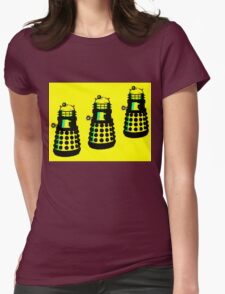 YELLOW AND BLACK DALEK ATTACK Womens Fitted T-Shirt