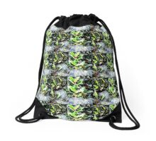 Frosty holly with cobweb digitally enhanced photograph Drawstring Bag