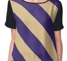 Seattle Washington Purple & Cream Team Color Stripes Chiffon Top